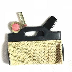 NWT AnnTaylor Loft straw clutch purse w/ handles